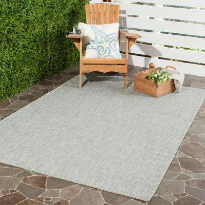 Courtyard Gray/Turquoise 8 ft. x 11 ft. Indoor/Outdoor Area Rug