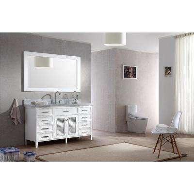 Kensington 61 in. Bath Vanity in White with Marble Vanity Top in Carrara White, Under-Mount Basin and Mirror