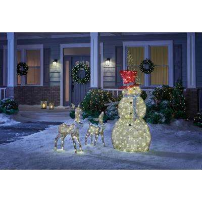 Misty Glimmer 36 in. LED Lighted Gold PVC Deer and 28 in. LED Lighted Gold PVC Doe