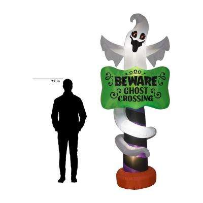 8.99 ft. Pre-Lit Inflatable Halloween Sign-Ghost with Beware Sign Airblown