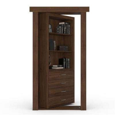 32 in. x 80 in. Flush Mount Assembled Dresser Door Walnut Medium Brown Stained Left-Hand Inswing