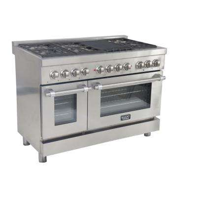 Professional 48 in. 6.7 cu. ft. Dual Fuel Range with Sealed Burners, Grill and Convection Oven in Stainless Steel