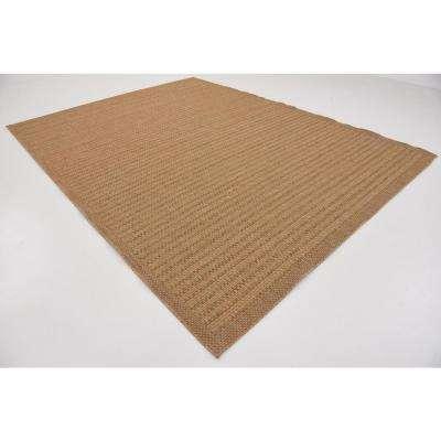 Outdoor Checkered Light Brown 9' 0 x 12' 0 Area Rug