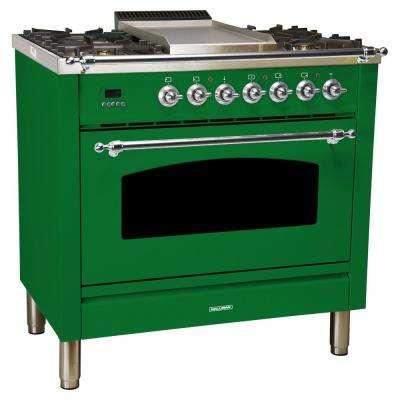 36 in. 3.55 cu. ft. Single Oven Dual Fuel Italian Range True Convection,5 Burners, LP Gas, Chrome Trim/Emerald Green
