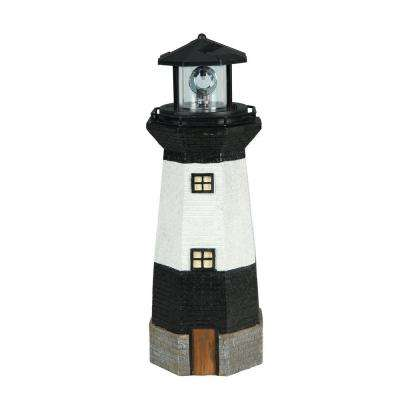 Solar Powered White LED Black and White Striped Lighthouse
