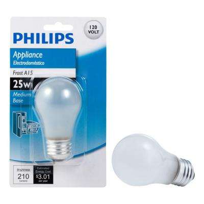 25-Watt Incandescent A15 Frost Appliance Light Bulb