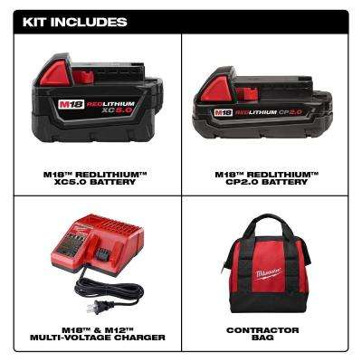 M18 18-Volt Lithium-Ion Starter Kit with One 5.0 Ah and One 2.0 Ah Battery and Charger