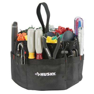 10 in. 19-Compartment Black Canvas Small Parts Organizer Tool Pouch