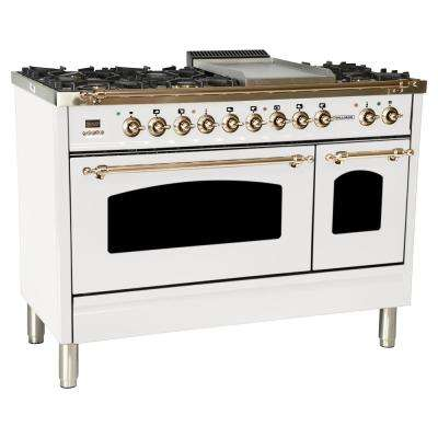 48 in. 5.0 cu. ft. Double Oven Dual Fuel Italian Range True Convection, 7 Burners, Griddle, LP Gas, Bronze Trim/White
