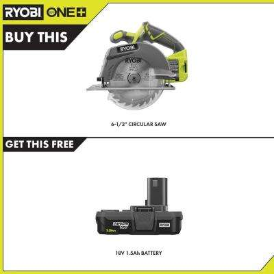 18-Volt ONE+ Cordless 6-1/2 in. Circular Saw with 1.5 Ah Compact Lithium-Ion Battery