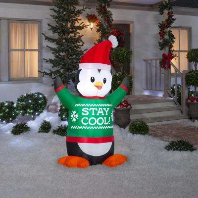 6 ft. Pre-Lit Life Size Airblown Inflatable Animated Penguin