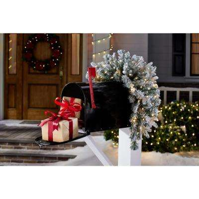 36 in. Starry Light Flocked Pine LED Prelit Mailbox Swag with Timer and 35-Lights