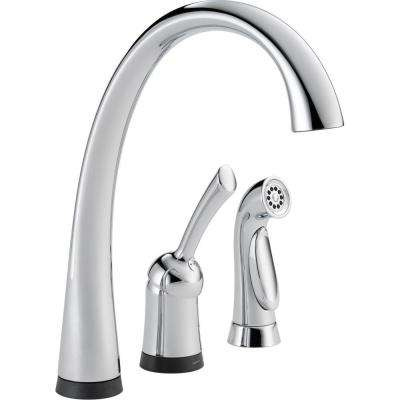 Pilar Waterfall Single-Handle Standard Kitchen Faucet with Side Sprayer and Touch2O Technology in Chrome