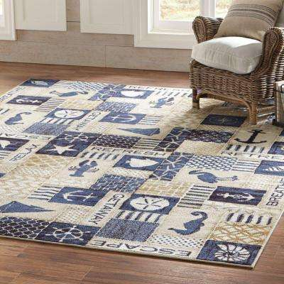 Ocean Panel Blue 8 ft. x 8 ft. Square Indoor Area Rug
