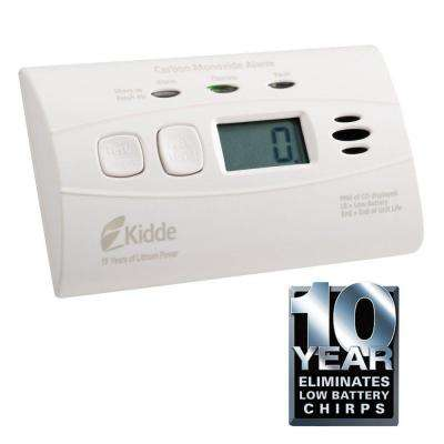 Worry Free 10-Year Lithium Ion Battery Operated Carbon Monoxide Alarm with Digital Display
