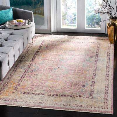 Illusion Rose/Light Gray 8 ft. x 10 ft. Area Rug