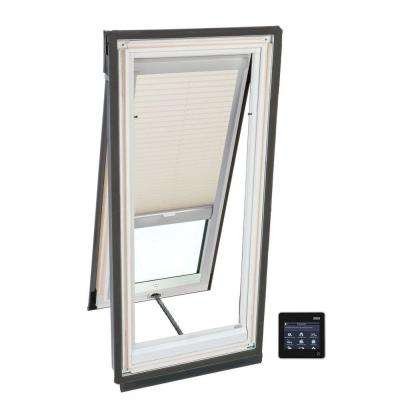 21 in. x 45-3/4 in. Solar Powered Venting Deck-Mount Skylight w/ Laminated Low-E3 Glass and Beige Light Filtering Blind