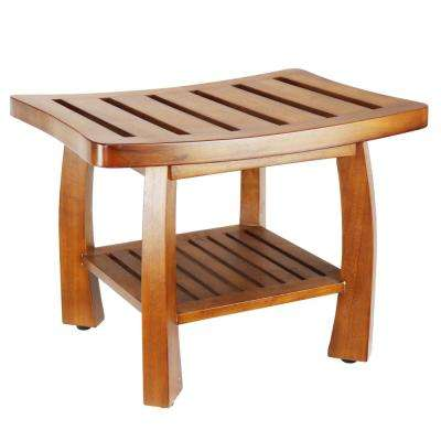 17 in. x 23.75 in. Solid Wood Spa Bench with Storage Shelf in Teak Color