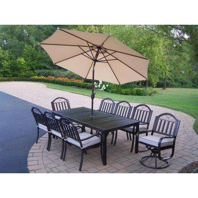 Rochester 9-Piece Patio Dining Set with Cushions and Beige Umbrella