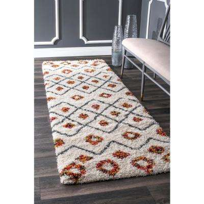 Cicely Shaggy White 3 ft. x 8 ft. Runner Rug