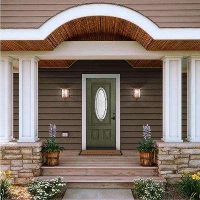 36 in. x 80 in. 3/4 Oval Lite Wendover Juniper Stained Fiberglass Prehung Left-Hand Inswing Front Door