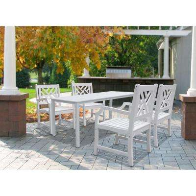 Bradley Acacia White 5-Piece Patio Dining Set with 32 in. W Extension Table and Herringbone, Back Armchairs