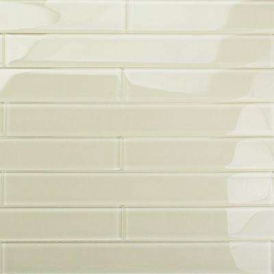 Contempo Vista Polished Sand Beach Glass Subway Wall Tile - 2 in. x 8 in. Tile Sample
