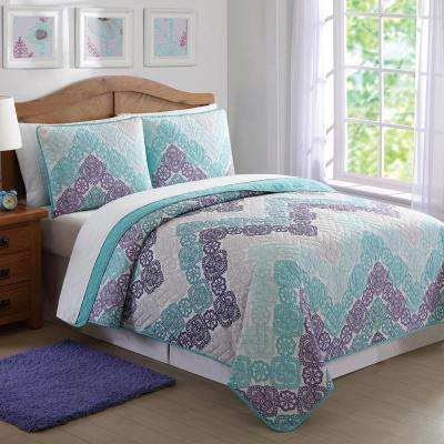 Antique Lace Chevron 3-Piece Purple and Teal Full and Queen Quilt Set