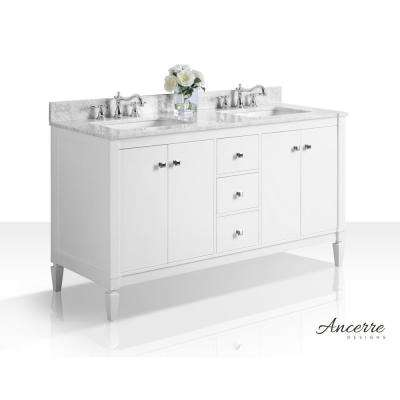 Kayleigh 60 in. W x 22 in. D Vanity in White with Marble Vanity Top in Carrera Carrara with White Basins