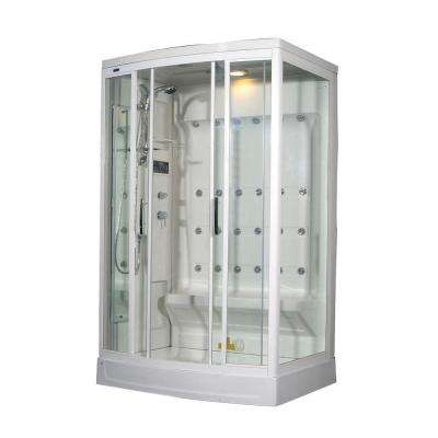 ZA219 52 in. x 39 in. x 85 in. Steam Shower Enclosure Kit in White with 24 Body Jets and Left Drain