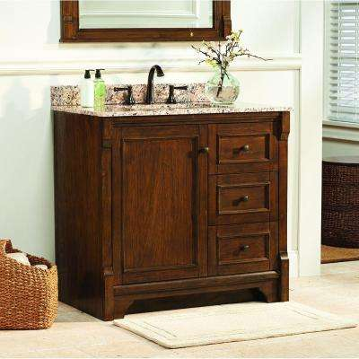 Creedmoor 37 in. W x 22 in. D Vanity in Walnut with Granite Vanity Top in Giallo Ornamental with White Sink