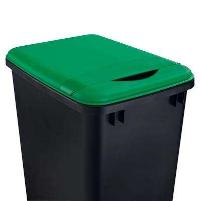 2 in. H x 10 in. W x 14 in. D 35 Qt. Green Waste Container Recycling Lid