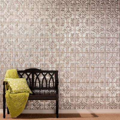 96 in. x 48 in. Traditional 2 Decorative Wall Panel in Crosshatch Silver