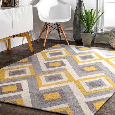 Anya Contemporary Geometric Yellow 5 ft. x 8 ft.  Area Rug