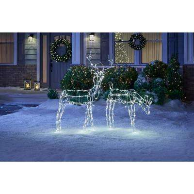 52 in. 120-Light LED White Wire Reindeer