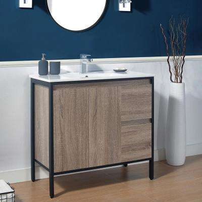 Kearney 36 in. W x 18 in. D Vanity in Taupe with Ceramic Vanity Top in White with White Sink