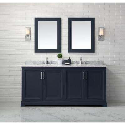 Lynn 72 in. W x 22 in. D Vanity in Midnight Blue with Marble Vanity Top in White with White Basin