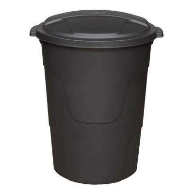 32 Gal. Black Round Multi-Purpose Trash Can with Lid