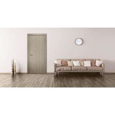 30 in. x 80 in. Viola 2H Shambor Finished with Aluminum Strips Solid Core Composite Interior Door Slab No Bore