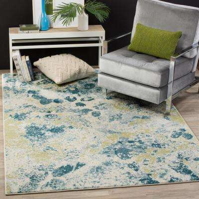 Watercolor Ivory/Light Blue 8 ft. x 10 ft. Area Rug