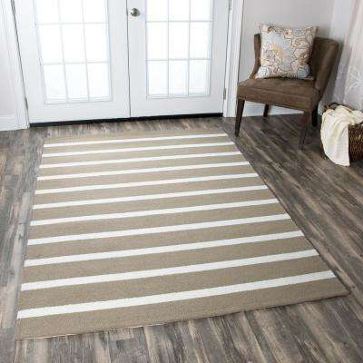 Azzura Hill Taupe Striped 5 ft. x 8 ft. Indoor/Outdoor Area Rug