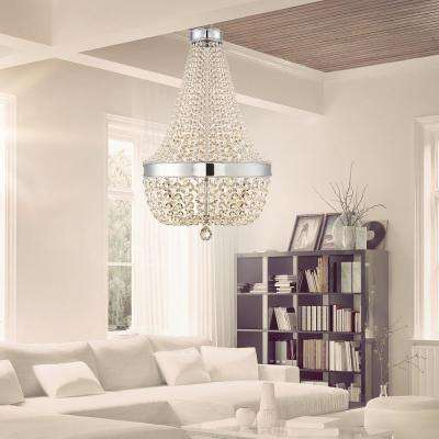 6-Light Chrome Crystal Chandelier