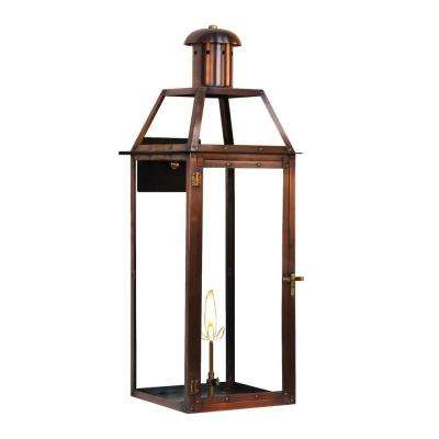 Brooklyn 1-Burner 33 in. Copper Outdoor Natural Gas Wall Lantern