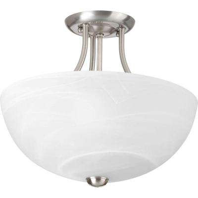 Random Collection 2-Light Brushed Nickel Semi-Flush Mount Light