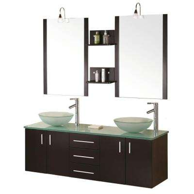 Modena 61 in. W x 20 in. D Vanity in Espresso with Glass Vanity Top and Mirror in Mint