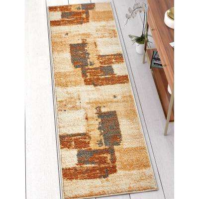 Mystic Central Park Brown 2 ft. x 7 ft. Vintage Abstract Art Deco Brush Strokes Modern Runner Rug