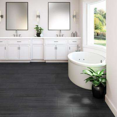 QuicTile 12 in. x 24 in. Graphite Matte Porcelain Locking Floor Tile (9.6 sq. ft. / case)