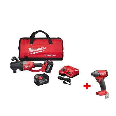 M18 FUEL 18-Volt Brushless Lithium-Ion 1/2 in. HOLE HAWG Right Angle Drill Kit with Free M18 FUEL 1/4 in. Impact Driver