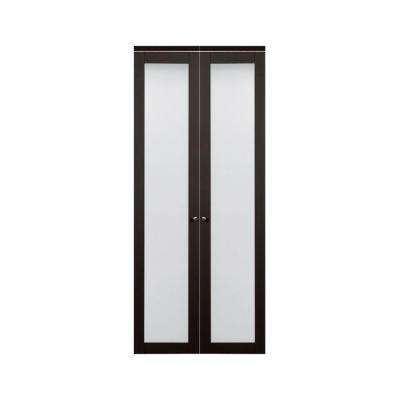 3030 Series 1-Lite Tempered Frosted Glass Composite Espresso Interior Closet Bi-fold Door