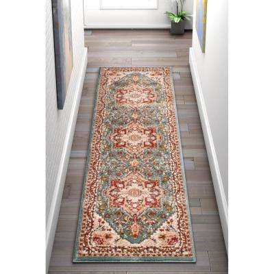 Vettore Celesita Traditional Southwest Distressed Blue 2 ft. 3 in. x 7 ft. 3 in. Runner Rug